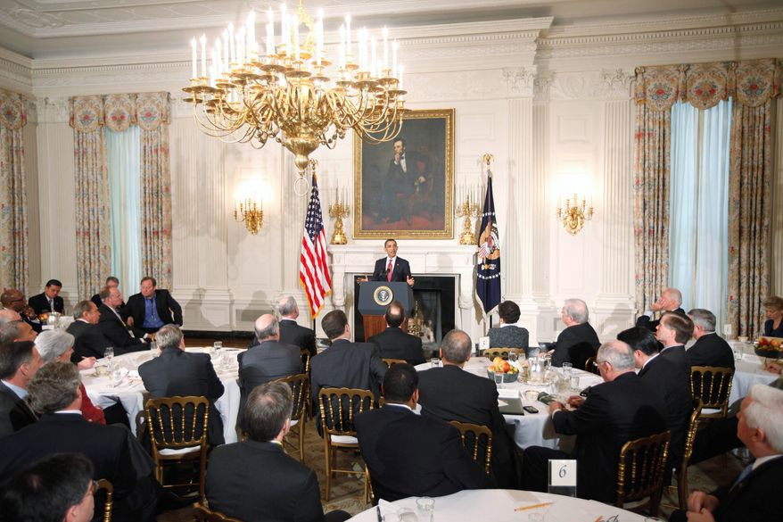 "President Obama speaks during a bipartisan meeting of governors in the State Dining Room of the White House on Monday. The president told members of the National Governors Association about ""innovation waivers"" that would allow states to opt out of parts of the health care law. (Associated Press)"