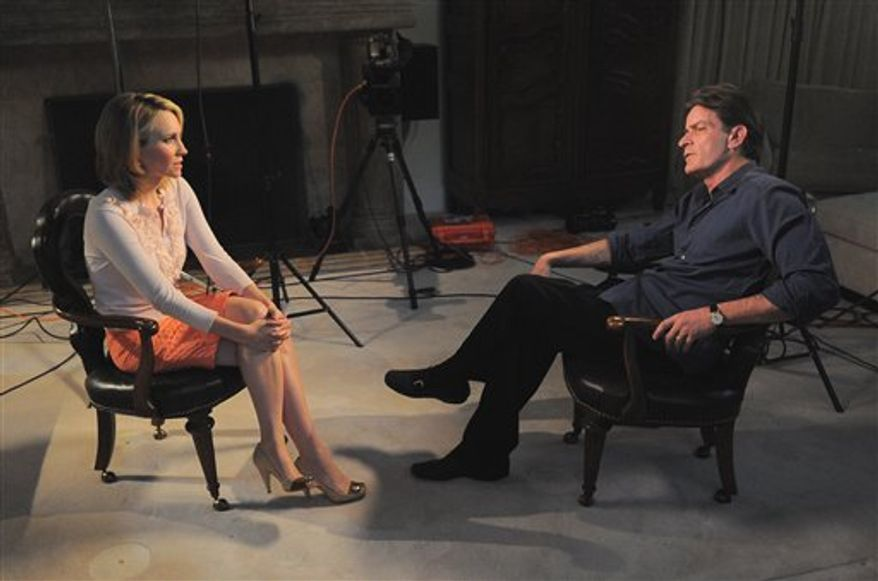 "In this photo provided by ABC News, Andrea Canning interviews Charlie Sheen Saturday, Feb. 26, 2011, in Los Angeles for a Special Edition of 20/20 to be aired Tuesday. Sheen told Canning he is 100 percent clean and plans to show up for work despite CBS's pulling the plug on this season's production of ""Two and a Half Men."" (AP Photo/ABC News)"