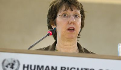 Catherine Ashton, European high representative for foreign affairs and security policy, speaks during the opening session of the 16th Human Rights Council at the European headquarters of the United Nations in Geneva on Monday, Feb. 28, 2011. (AP Photo/Keystone/Salvatore Di Nolfi)