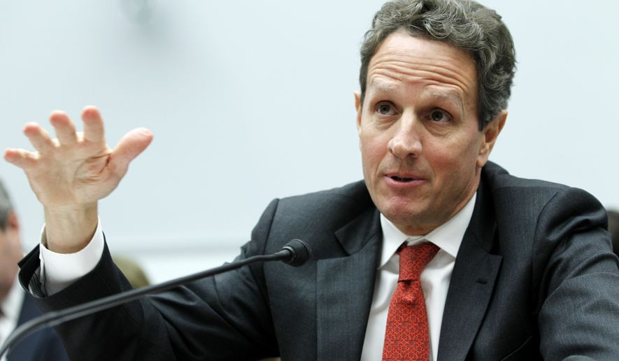 ** FILE ** Treasury Secretary Timothy F. Geithner testifies on Capitol Hill in Washington on Tuesday, March 1, 2011, before the House Financial Services Committee. (AP Photo/Jose Luis Magana)