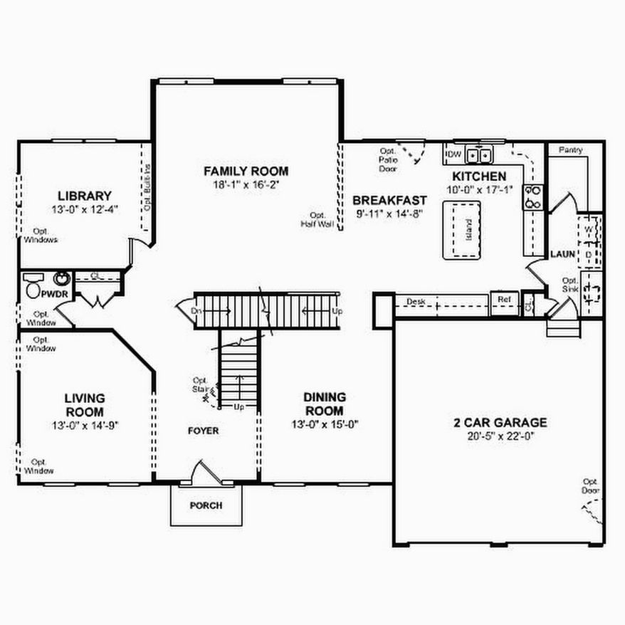The Colorado model's main level features a center-island kitchen with a breakfast area and a walk-in pantry. Upstairs are four bedrooms, each with at least one walk-in closet.