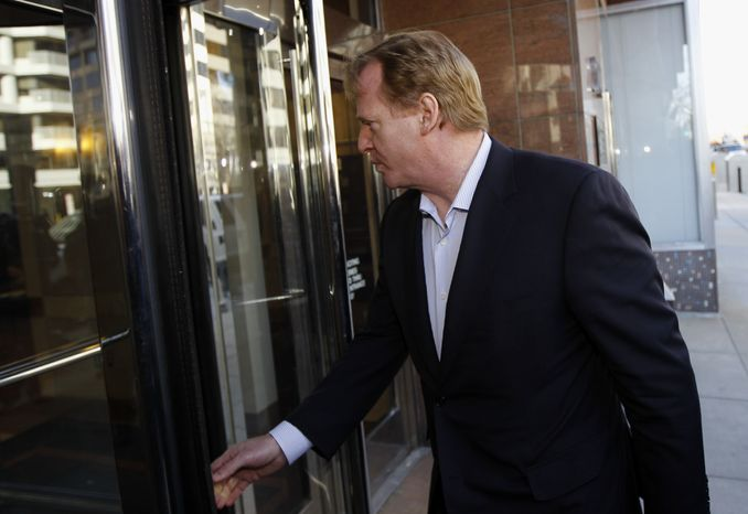 NFL commissioner Roger Goodell arrives for football labor negotiations with the NFL players involving a federal mediator in Washington Thursday, March 3, 2011. (AP Photo/Alex Brandon)