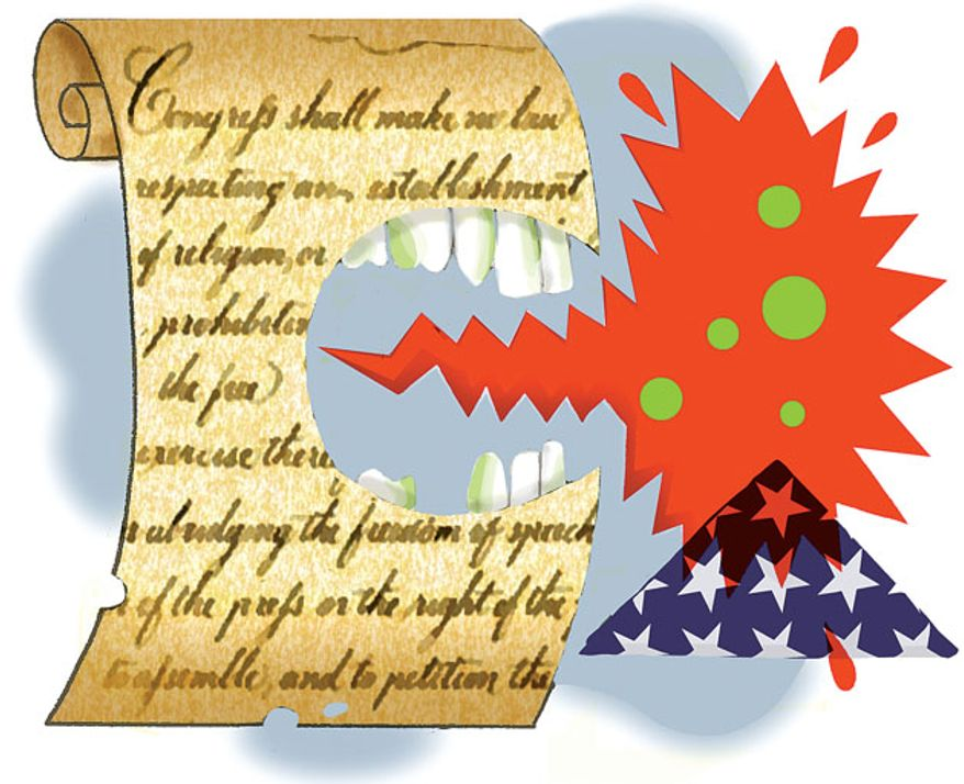 Illustration: Free speech by Alexander Hunter for The Washington Times