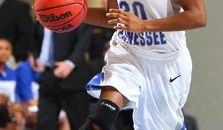 This undated image provided by Middle Tennessee State University shows Middle Tennessee State University basketball player Tina Stewart. Police have charged a roommate in the fatal stabbing of Stewart. The junior guard from Memphis was pronounced dead at a Murfreesboro hospital after police answering a disturbance call Wednesday night, March 2, 2011,  found her stabbed at her apartment, in Murfreesboro, Tenn. . (AP Photo/Middle Tennessee University)