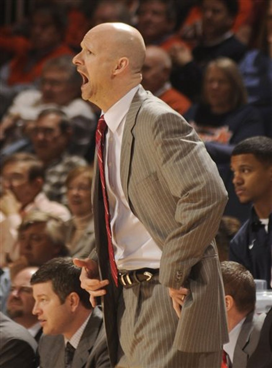 Mississippi head coach Andy Kennedy reacts during the first half of an NCAA college basketball game against Auburn on Wednesday, March 2, 2011, in Auburn, Ala. (AP Photo/ Leffie V. Dailey)