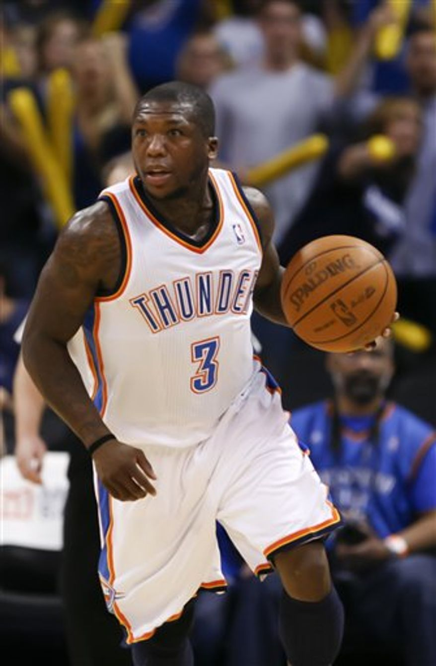 Oklahoma City Thunder guard Nate Robinson (3) shoots over Indiana Pacers forward Tyler Hansbrough (50) in the fourth quarter of an NBA basketball game in Oklahoma City on Wednesday, March 2, 2011. Oklahoma City defeated the Pacers 113-89.  (AP Photo/Alonzo Adams)