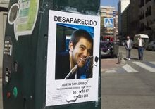 ** FILE ** A poster of missing 22-year-old U.S. exchange student Austin Bice is displayed on a parking meter in Madrid on Sunday, March 6, 2011. Police, family and friends have stepped up the search for the San Diego State University student, who went missing after visiting a nightclub more than a week ago. (AP Photo/Paul White)