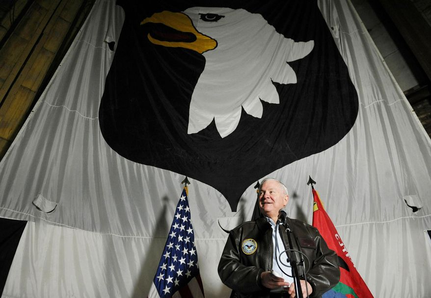 Secretary of Defense Robert M. Gates spoke to U.S. troops at Bagram air field in Afghanistan. Mr. Gates said U.S. and Afghan governments agree that the American military should remain involved after the planned 2014 end of combat operations. (Associated Press)