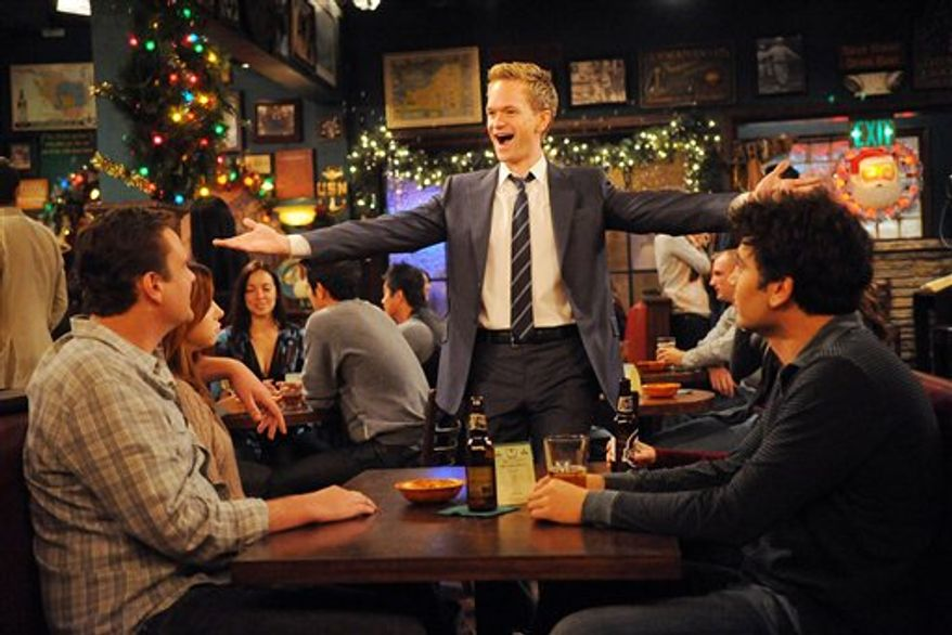 """In this undated publicity image released by CBS, from left, Jason Segel, Alyson Hannigan, Neil Patrick Harris, and Josh Radnor are shown in a scene from """"How I Met Your Mother."""" (AP Photo/CBS, Ron P. Jaffe)"""