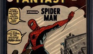 """In this comic book cover released by ComicConnect/MetropolisComics, the cover of the Spider-Man comic, """"Amazing Fantasy #15,"""" is shown. The issue, graded 9.6 or near-mint, plus, was sold by ComicConnect.com for $1.1 million on Monday, March 7, 2011 to an undisclosed buyer. (AP Photo/ComicConnect/MetropolisComics)"""