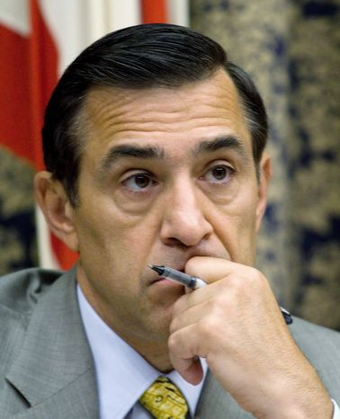 Rep. Darrell Issa, California Republican, says President Obama's idea of a pay freeze is not a freeze because it allows for step increases for federal employees. (Associated Press)