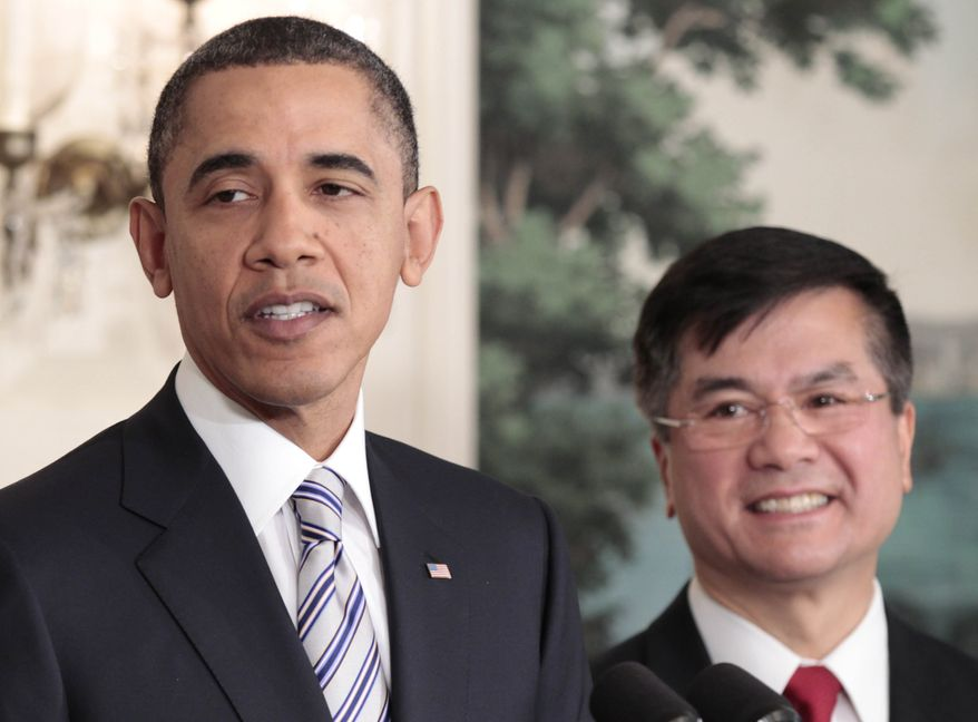 President Obama (left) announces his nomination of Commerce Secretary Gary Locke (right) as the next U.S. ambassador to China in the Diplomatic Room of the White House on Wednesday, March, 9, 2011. Mr. Locke would replace Jon Huntsman. (AP Photo/Pablo Martinez Monsivais)