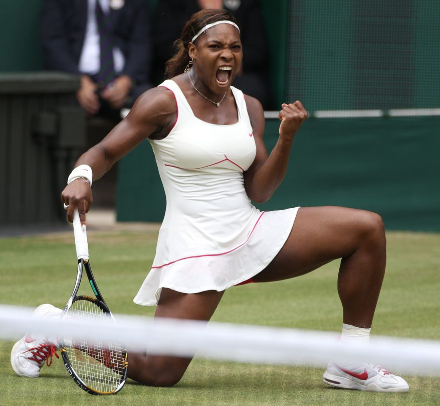 ** FILE ** This July 3, 2010, defending champion Serena Williams reacts as she wins a point from Vera Zonareva, during the women's singles final at Wimbledon. She still has blood clots in her lungs but hopes to return to tennis this summer after recovering from a pulmonary embolism. (AP Photo/Jon Super, File)