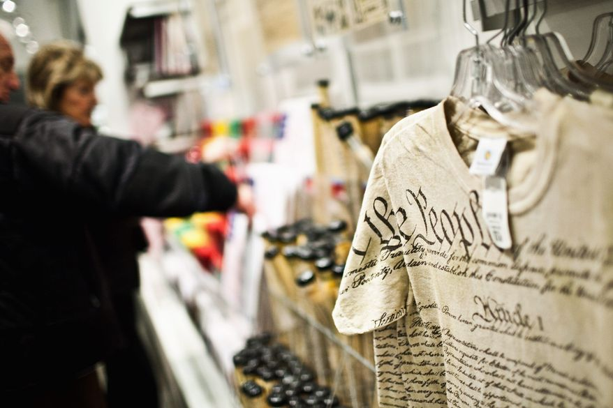 A T-shirt with the text of the Constitution on it that was made in Nicaragua is on sale at the Smithsonian National Museum of American History. (Drew Angerer/The Washington Times)