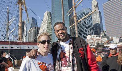 "Ryan Perkins, 23, left, stands with ""30 Rock"" actor Grizz Chapman in New York City in this undated photo provided by the National Kidney Foundation. Last June, Perkins, who had been in the hospital for nothing more serious than a broken wrist when he was a kid, donated his kidney to Chapman, 36, who suffered from kidney disease for four years, a condition brought on by hypertension. (AP Photo/Courtesy of National Kidney Donation)"