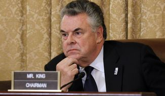 "** FILE ** Rep. Peter T. King, New York Republican and chairman of the House Homeland Security Committee, opens hearings into Islamic radicalization on Thursday, March 10, 2011, on Capitol Hill in Washington. Mr. King dismissed what he called the ""rage and hysteria"" surrounding the hearings. (AP Photo/Alex Brandon)"