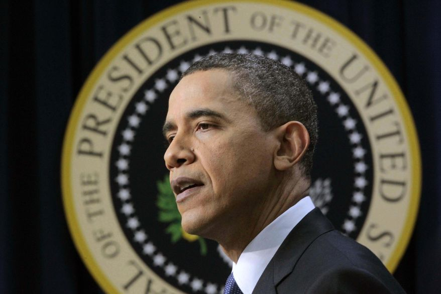 President Obama makes an opening statement during a press conference at the White House in Washington on Friday, March 11, 2011. (AP Photo/Pablo Martinez Monsivais)