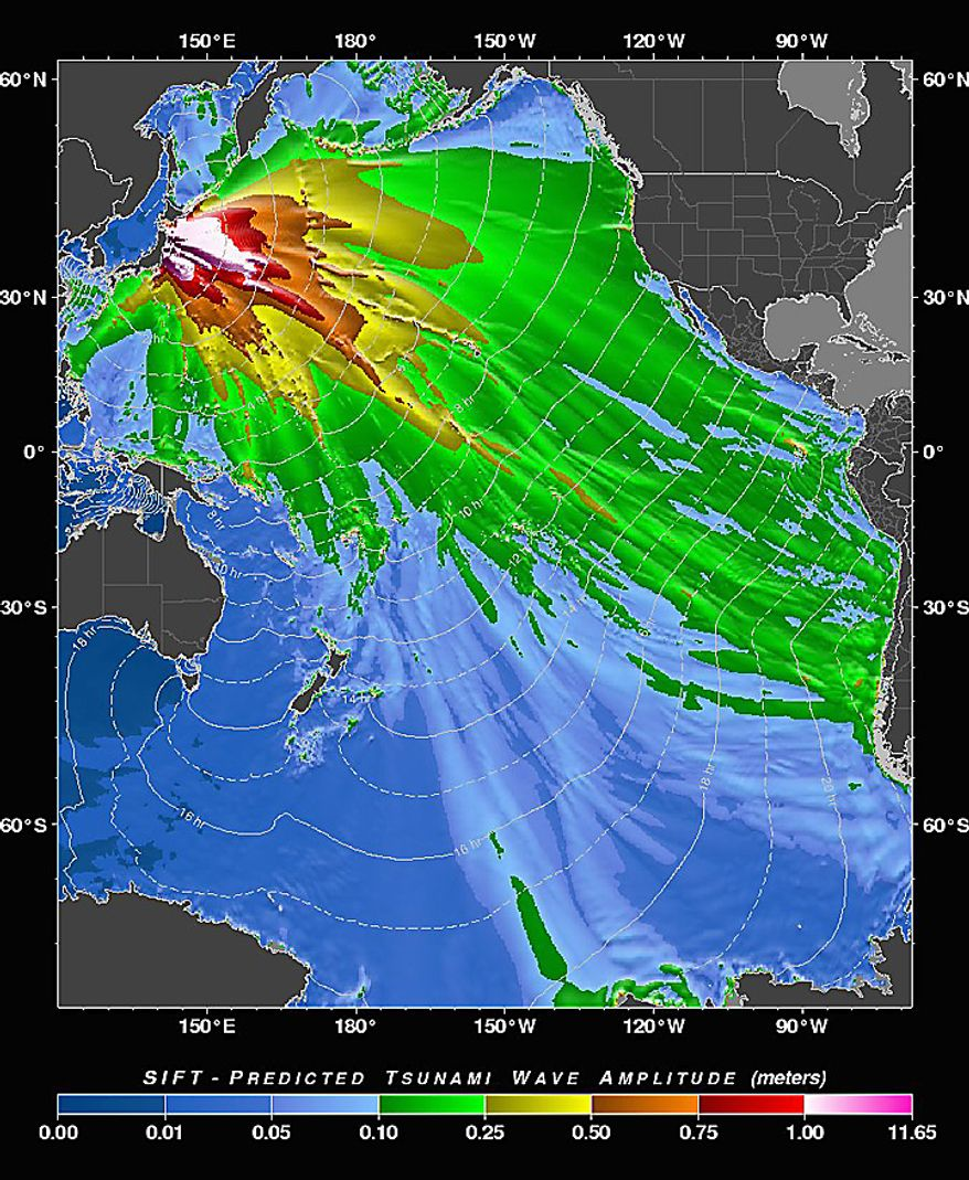 """This image provided by the Pacific Tsunami Warning Center shows  a """"tsunami forecast model"""" created by the Pacific Tsunami Warning Center in Ewa Beach, Hawaii predicting the wave height of the tsunami generated by the Japan earthquake Friday March 11, 2011. The Hawaii's islands are located at the edge of the yellow pattern, but waves could be higher along the coastline when the tsunami arrives. (AP Photo/Nathan Becker - Pacific Tsunami Warning Center)"""