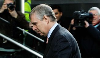 """Britain's Prince Andrew, here arriving March 7 on a visit to the headquarters of the London CrossRail project, is under fire over """"his boorish gaffes and dodgy friendships."""" He's being pressured to resign from his role as a British trade envoy, a volunteer position. (Associated Press)"""