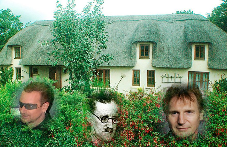 U2's Bono, novelist James Joyce and actor Liam Neeson are just some of the notable folks from Ireland. (Photos: Associated Press and The Washington Times)