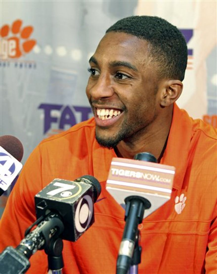 Clemson senior basketball player Demontez Stitt smiles after learning that the Tigers were selected to play in the NCAA college basketball tournament for a school record fourth year in a row, Sunday, March 13, 2011 in Clemson, S.C. Clemson will play UAB on Tuesday in Dayton, Ohio. (AP Photo/Anderson Independent-Mail, Mark Crammer)