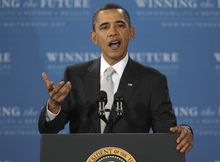 **FILE** President Obama speaks March 14, 2011, about revising the No Child Left Behind education law during an address at Kenmore Middle School in Arlington, Va. (Associated Press)