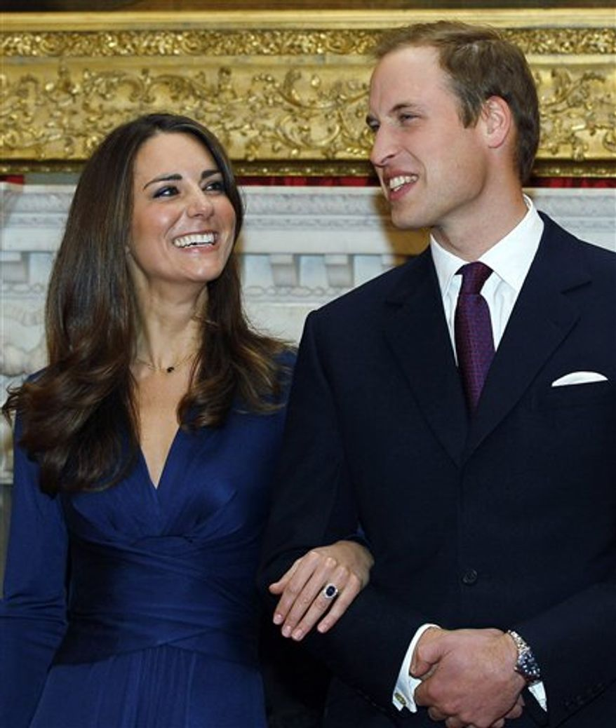 """FILE - This Nov. 16, 2010 file photo shows Britain's Prince William and his fiancee Kate Middleton pose for the media at St. James's Palace in London. Royal officials at St. James's Palace said Tuesday March 15, 2011 the couple """"have taken a great deal of interest and care in choosing the music for their service,"""" which will include well-known hymns and choral works as well as pieces commissioned especially for the occasion, provided bytwo choirs, an orchestra and a military fanfare team . (AP Photo/ Kirsty Wigglesworth, File)"""