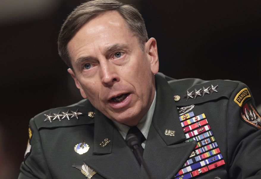 U.S. Army Gen. David H. Petraeus, commander of U.S. and NATO forces in Afghanistan, testifies Tuesday on Capitol Hill before the Senate Armed Services Committee. (Associated Press)