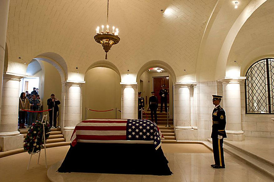 Former Army Cpl. Frank Woodruff Buckles, the last surviving American veteran of World War I, lies in honor in the Memorial Amphitheater Chapel at Arlington National Cemetery in Arlington, Va., on Tuesday, March 15, 2011. (Rod Lamkey Jr./The Washington Times)