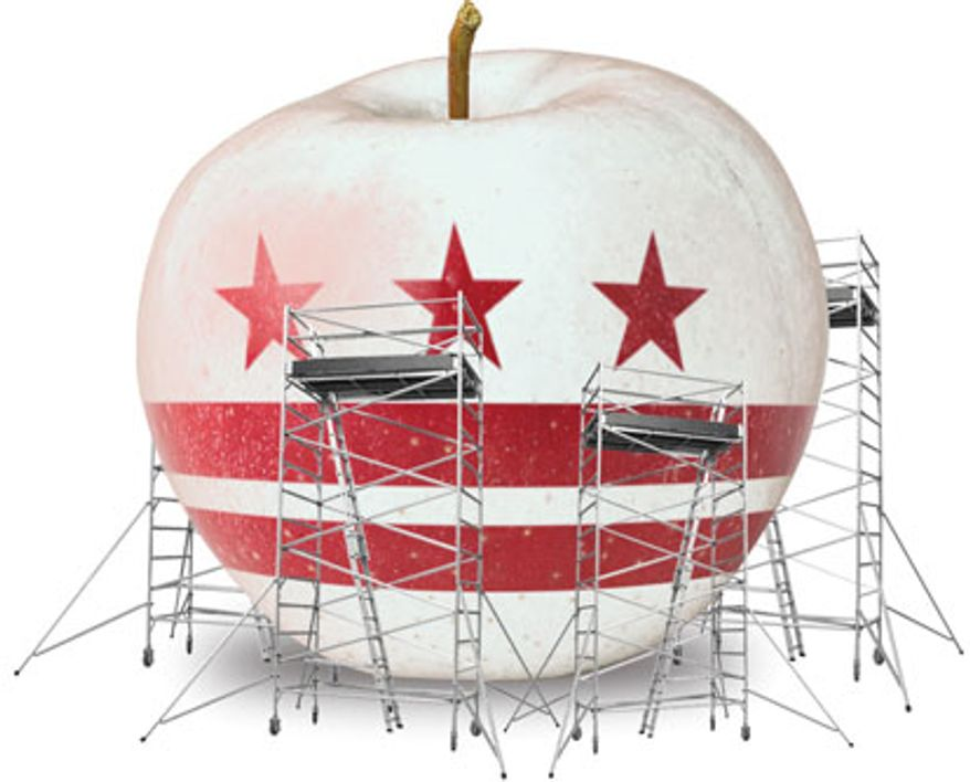 Illustration: D.C. school reform by Linas Garsys for The Washington Times
