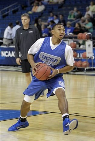 UC Santa Barbara guard Orlando Johnson makes a move to the basket  during practice Wednesday, March 16, 2010, in preparation for their second round southeast regional NCAA college basketball game in Tampa, Fla.   UC Santa Barbara will face Florida on Thursday. (AP Photo/John Raoux)
