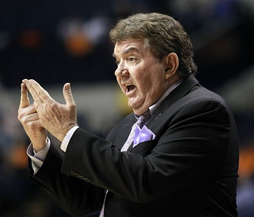 FILE - This March 3, 2011, file photo shows LSU head coach Van Chancellor gesturing to his team in the second half of an NCAA college basketball game against Alabama at the Southeastern Conference womens  tournament, in Nashville, Tenn. A person familiar with the decision says LSU women's basketball coach Van Chancellor is stepping down.The school has announced an afternoon news conference Wednesday, March 16, 2011 to discuss the future of the women's basketball program. (AP Photo/Mark Humphrey, FIle)