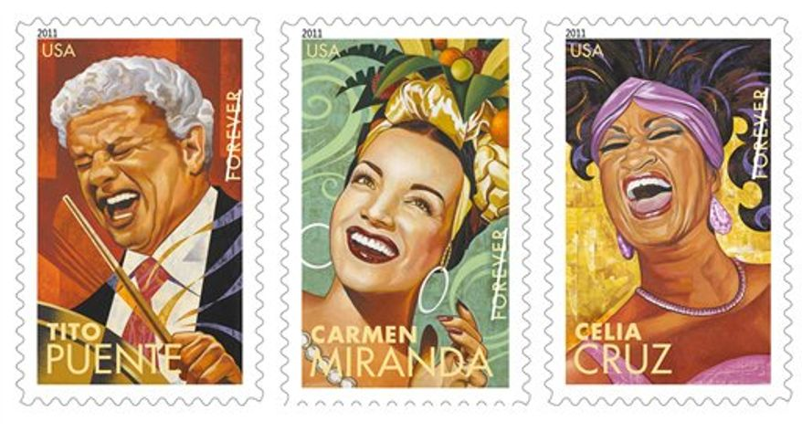 These handout images provided by the US Postal Service show forever stamps honoring Latin musical giants, from left, Tito Puente, Carmen Miranda and Celia Cruz. The stamps go on sale on Wednesday.  (AP Photo/USPS)