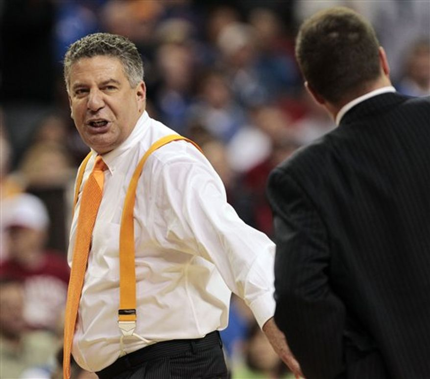 Tennessee head coach Bruce Pearl reacts after receiving a technical foul during the second half of an NCAA college basketball game against Florida at the Southeastern Conference tournament, Friday, March 11, 2011, in Atlanta. (AP Photo/Dave Martin)