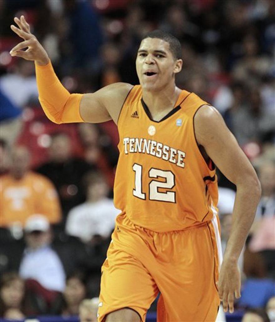 FILE - In this March 11, 2011 file photo, Tennessee forward Tobias Harris (12) celebrates after hitting a three-point shot during the first half of an NCAA college basketball game against Florida at the Southeastern Conference tournament in Atlanta. Harris' businesslike approach to basketball has paid off with the talented freshman forward averaging 22.5 points and 5.5 rebounds in two SEC tournament games. (AP Photo/Dave Martin, File)