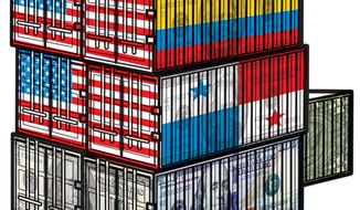 Illustration: Free trade agreements by Linas Garsys for The Washington Times
