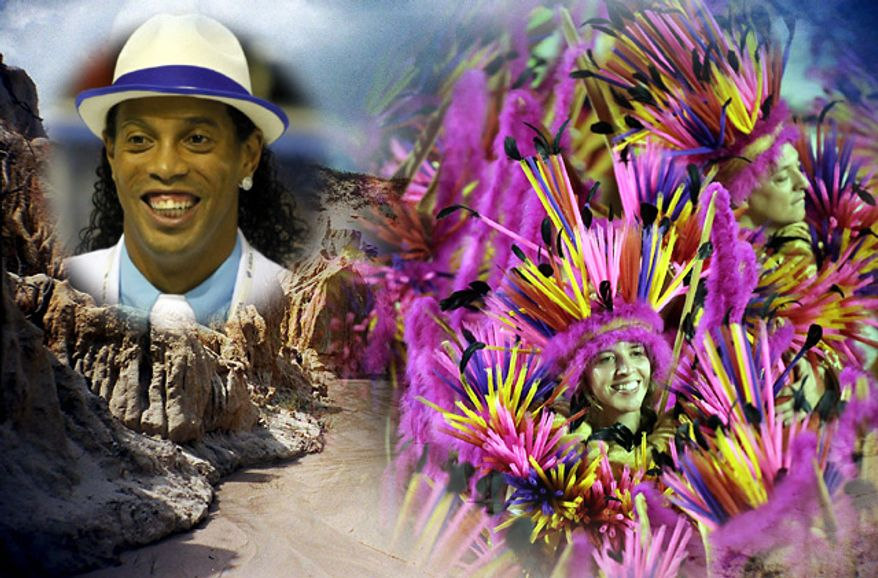 Brazil is partly famous for soccer star Ronaldinho and the Rio Carnival parades. (Photos by Associated Press)
