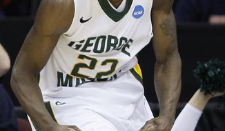 George Mason's Mike Morrison is averaging 9.5 points, 6.7 rebounds and 1.8 blocks in his senior season. (AP Photo)