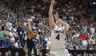 Temple's Juan Fernandez, right, shoots the game-winning basket over Penn State forward Andrew Jones in the closing second of the second half of a West Regional NCAA college basketball tournament second round game against Penn State in Tucson, Ariz. Thursday, March 17, 2011. Temple won 66-64. (AP Photo/Chris Carlson)