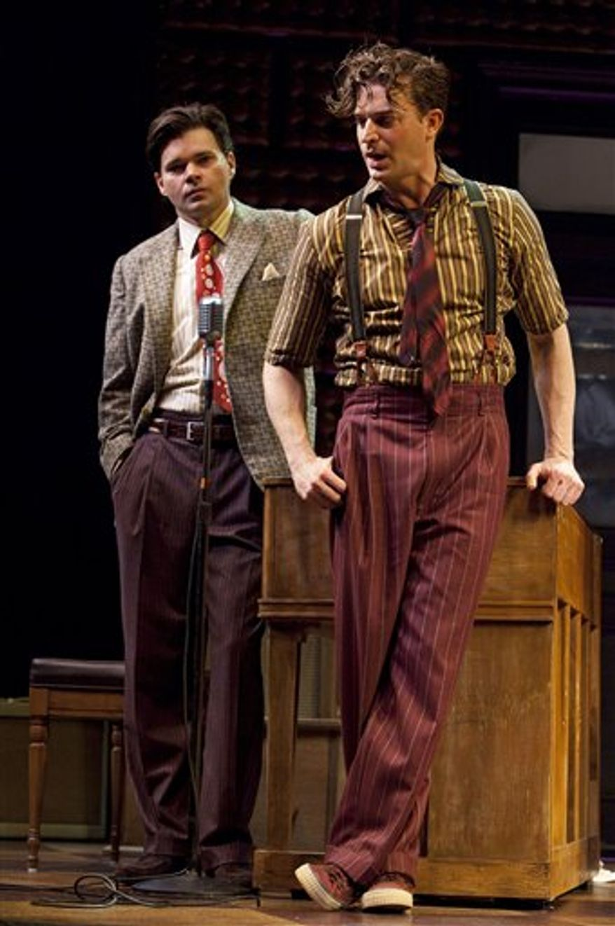 """In this undated theater publicity image released by Boneau/Bryan-Brown, Hunter Foster, left, and Levi Kreis are shown in a performance of """"Million Dollar Quartet,"""" in New York. (AP Photo/Boneau/Bryan-Brown, Joan Marcus)"""