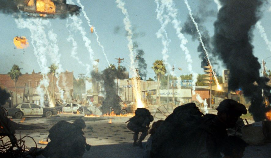 "A Marine platoon faces off against an alien invasion in Los Angeles in Columbia Pictures' action thriller ""Battle: Los Angeles."""