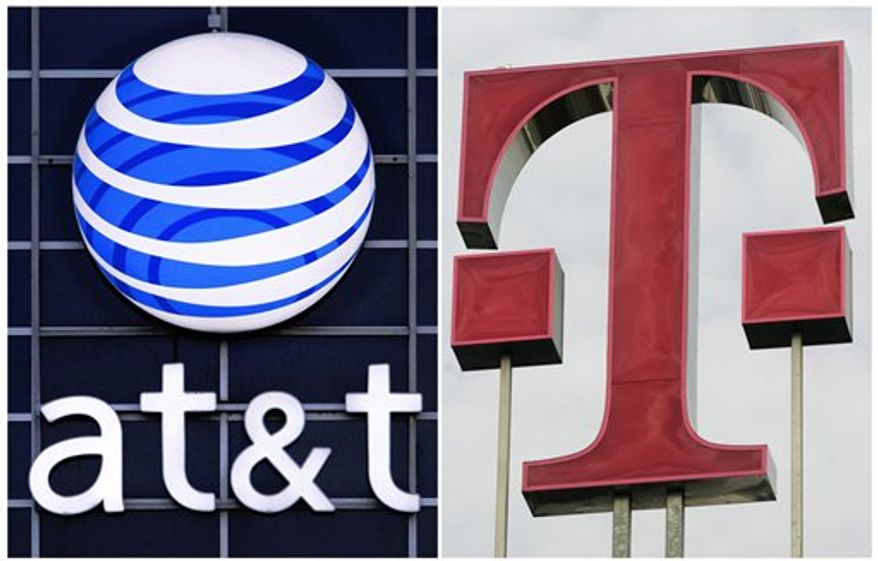 This photo combination shows logos for AT&T (left) and Deutsche Telekom AG. AT&T Inc. on Sunday, March 20, 2011, said it will buy T-Mobile USA from Deutsche Telekom in a cash-and-stock deal valued at $39 billion, becoming the largest cellphone company in the U.S. (AP Photo)