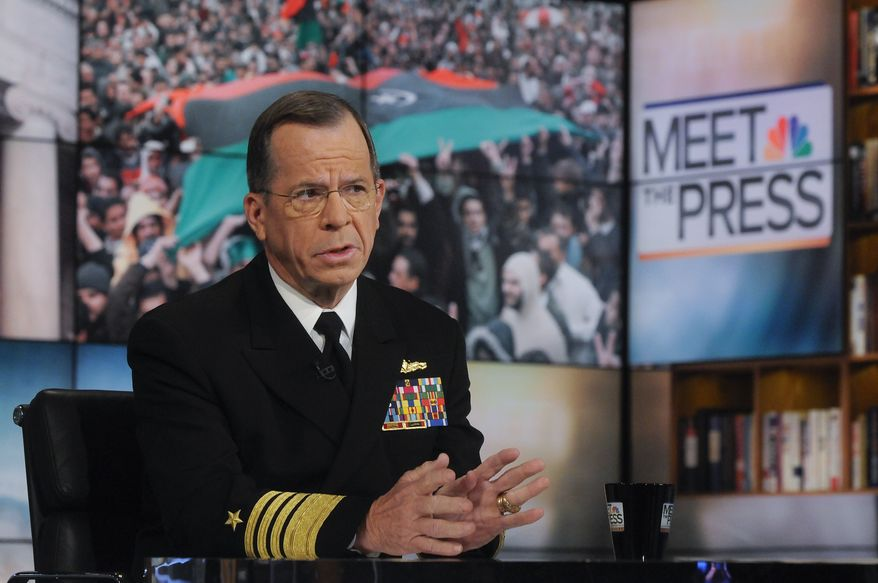 "Adm. Mike Mullen, chairman of the Joint Chiefs of Staff, speaks on NBC's ""Meet the Press"" in Washington on Sunday, March 20, 2011. Adm. Mullen described the military campaign in Libya of the United States and its European allies as ""limited"" and said it ""isn't about seeing [Col. Moammar Gadhafi] go."" (AP Photo/NBC, William B. Plowman)"