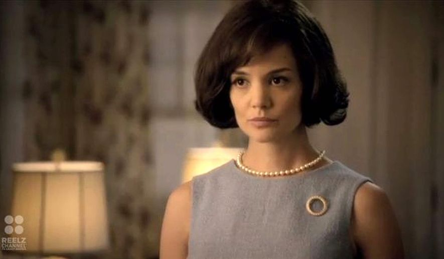 Katie Holmes stars as first lady Jacqueline Kennedy in the eight-part miniseries. Would-be advertisers have been hesitant to buy in. (www.reelzchannel.com)