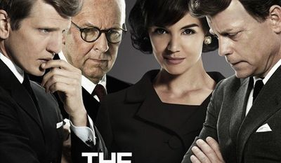 "From left, Barry Pepper, Tom Wilkinson, Katie Holmes and Greg Kinnear star in ""The Kennedys,"" beginning April 3 on Reelz Channel. (www.reelzchannel.com)"