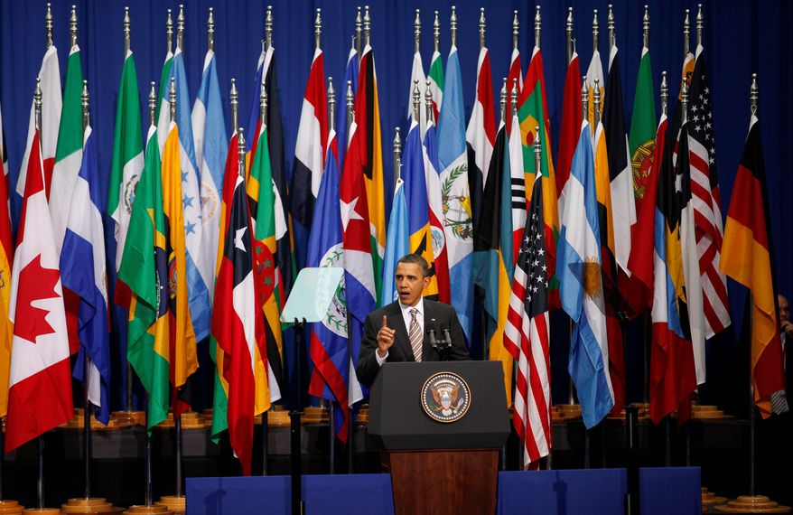"""President Obama delivers a speech to all Latin Americans from the Centro Cultural La Moneda Palace in Santiago, Chile, on Monday. """"Today, there are no senior partners and there are no junior partners, there are only equal partners,"""" he said about U.S. ties with Latin America. (Associated Press)"""