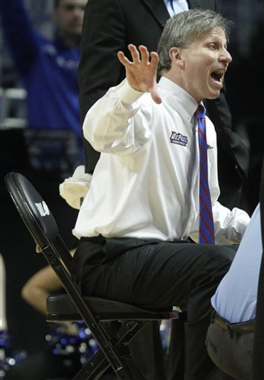 DePaul head coach Doug Bruno talks to his team during a break in the second half in the first round of the NCAA women's college basketball tournament, Saturday, March 19, 2011 in State College, Pa. DePaul defeated Navy 66-43. (AP Photo/Keith Srakocic)