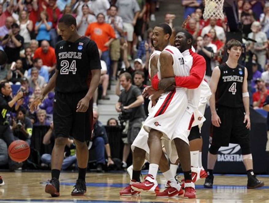 San Diego State celebates after it's win over Temple during a West Regional NCAA college basketball tournament third round game Tucson, Ariz., Saturday, March 19, 2011. San Diego State won 71-64. (AP Photo/Chris Carlson)
