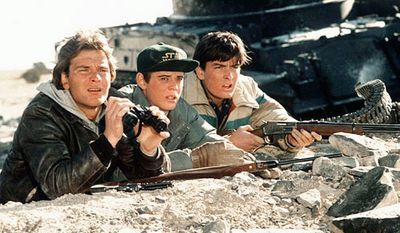 """Patrick Swayze, C. Thomas Howell and Charlie Sheen (from left) battled Soviet invaders in their hometown in the original """"Red Dawn"""" released in 1984. The remake was set to have China invading U.S. soil but the invaders will now be North Koreans."""