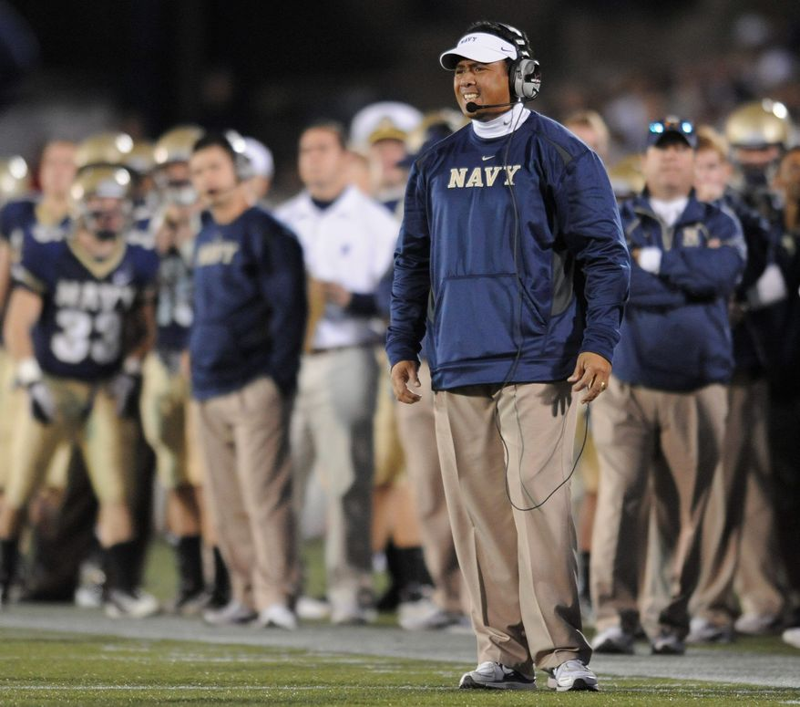 Navy coach Ken Niumatalolo says two candidates for outside linebacker are playing other sports now and did not participate in off-season workouts. Brye French is on the lacrosse team and Craig Veech is a baseball player for the Midshipmen. (Associated Press)